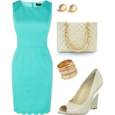 Scallop blue shift dress by allesanleigh, via Polyvore