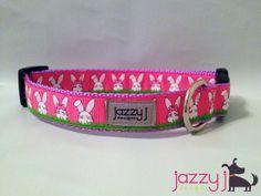 Pink Easter Rabbit Bunny Dog Collar - sooo cute!  #jazzyjdesigns  Jazzy J Designs $18 www.jazzyjdesigns.com