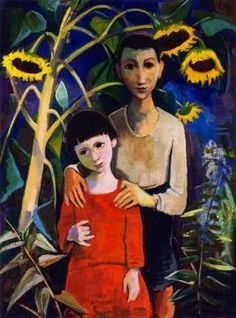 Karl Hofer | Children under Sunflowers Artwork by Karl Hofer