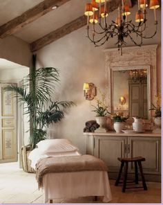 Country French singular bedroom.  Simple Elegance...