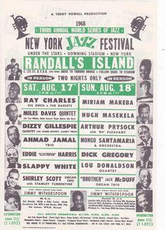 RAY CHARLES MILES DAVIS GILLESPIE MASKELA GREGORY JAZZ 1968 CONCERT HANDBILL   eBay