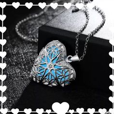 New Heart Glow Silver Necklace. New cute glow in dark 3D Sky blue Heart fairy chain locket necklace. Wear it in the day and at night it will glow in the dark. Very beautiful and cute to wear. Makes a great gift. Fast shipping. Bundle and save. Thank you. Glow in the Dark Jewelry Necklaces