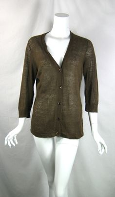 ISDA & CO Brown Linen Cardigan Sweater Size Large #Isda #Cardigan