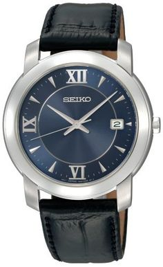 Seiko Men's SGEE97 Strap Blue Dial Watch Seiko. $90.00. Stainless steel case, black leather strap. Water-resistant to 99 feet (30 M). Buckle. Hour, minute and second hand. Hardlex crystal