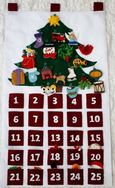 Felt Advent Calendar completely handmade by KennasFeltForest, $175.00  I'm going to try to make this myself.