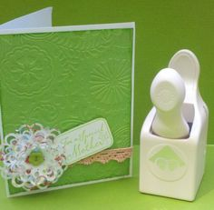"use a corner punch to make flower using three circles in 2"", 2-1/4"" and 2-1/2"" sizes"