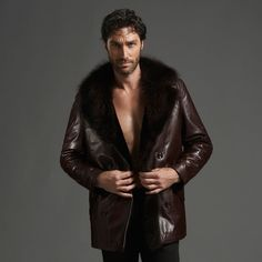 Men&39s Double Breasted Turkey Sheepskin Leather Coat with Tailored