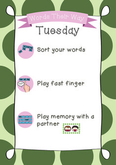 Words Their Way Daily Posters print Word Study Activities, Spelling Activities, Phonics Words, Spelling Words, Spelling Ideas, Primary Teaching, Teaching Reading, Learning, Reading Workshop