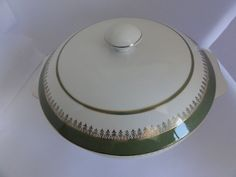 "Dish Lid Tureen Wedgwood & Co Ltd Green Gold Trim 14"" wide made England"