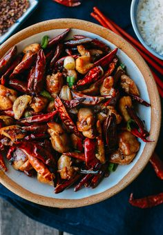 Chongqing chicken is a traditional, spicy dish of chicken and dried red chilies. Use our authentic Sichuan La Zi Ji recipe & make this classic dish at home! Asian Recipes, Healthy Recipes, Ethnic Recipes, Chinese Recipes, Indonesian Recipes, Easy Recipes, Asia Food, Low Carb Brasil, Wok Of Life