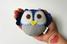 Eco friendly Plush Owl Toy In Blue With Embroidery by vivikas, $15.00