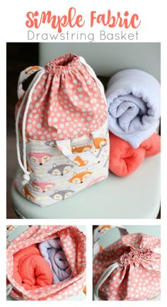 Fabric basket bag combo with a drawstring.