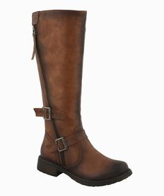 """Undeniably stylish, these boots boast a duo of buckled straps and a handy side zipper. With a sturdy sole and worn-in patina, this pair promises to add a touch of contemporary chicness to any ensemble.1'' heel15'' shaft15"""" circumferenceZipper closureMan-madeImported"""