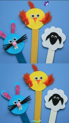 Easter Bunny Sheep Chick Craft  <br> This Easter, have some fun making some Popsicle Stick Easter Crafts - Bunny, Chick and Sheep. Use them as bookmarks or decor or gift them to your friends! Kids Crafts, Bunny Crafts, Winter Crafts For Kids, Easter Crafts, Toddler Crafts, Spring Crafts, Preschool Crafts, Art For Kids, Christmas Crafts