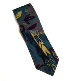 Peacocks Men's Tie Abstract Blue Brown Classic Style Necktie