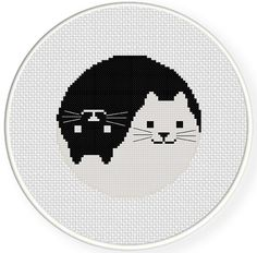 INSTANT DOWNLOAD Stitch Yin Yang Cat PDF Cross Stitch Pattern Needlecraft by DailyCrossStitch on Etsy https://www.etsy.com/listing/213703209/instant-download-stitch-yin-yang-cat-pdf
