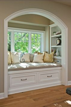 Books with Crafts To Match Time to fix up the ole house.redoing the window seat.Time to fix up the ole house.redoing the window seat. Interior Styling, Interior Design, Modern Interior, Sweet Home, Cozy Nook, Cozy Corner, Bed Nook, Cosy Bed, Parade Of Homes