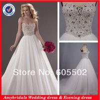 Sweetheart crystal beaded corset bodice puffy ball gown wedding ...