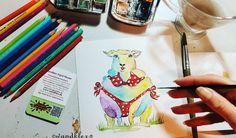 """Mählanie wollt auch mal beim #Schleifchendienstag mitmachen um zu zeigen wie sexy Rundungen sind.  Diese Mählanie gehört zu meiner Unikatserie """"Das Bunte Schaf der Familie"""" und ist schon nicht mehr zu haben aber natürlich können Arbeiten nach Wunsch auch bei mir bestellt werden in den Shops wandklex.etsy.com und wandklex.dawanda.com.  Material : Schmincke Künstlerfarben Horadam und @caran_dache Supracolor soft ll auf @hahnemuehle Britannia rauh.  #wandklex  #malerei #handgemalt #aquarell…"""