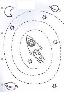 Preschool Counting Worksheets - Space theme for Preschool Space Preschool, Preschool Centers, Space Activities, Preschool Learning Activities, Kindergarten Worksheets, Kids Learning, Solar System Activities, Cutting Activities, Free Preschool