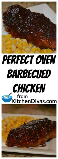I totally love barbecued chicken.  I can't help myself.  This recipe for Oven Barbecued Chicken is fabulous. It creates delicious whole chicken breasts or strips.  I have followed this recipe and even used store bought barbecue sauce.  The result was great because the method is great.  You can leave out the minced garlic and onion and use powdered for a smoother sauce if you like.  Perfect both ways!  #chicken #chickenbreast #barbecue #recipe #food