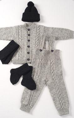 Novita Oy - Neulemalli: Neulottu vauvan takki, housut, pipo, lapaset ja sukat