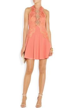 LOVER  Lace-detailed crepe mini dress  $550