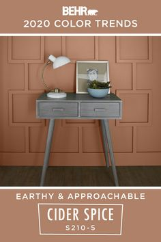 The BEHR® 2020 Color Trends Palette is here to help you define your interior design style. If you want to create a look that's earthy and approachable, start with BEHR Paint in Cider Spice. This clay-toned hue is an easy way to refresh the walls of your home. Click below for full color details to learn more.