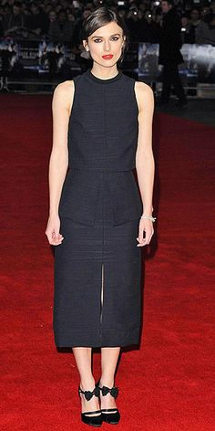 bow-embellished ankle-strap Balenciaga heels to go with her Proenza Schouler peplum top and skirt (jan Fashion Fail, Keira Knightley, Night Looks, Proenza Schouler, Fashion Watches, Style Icons, Fashion Forward, Peplum Dress, Beautiful People