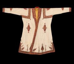 India, Kashmir man's coat, circa 1830, 190 x 122 cm (6'3″ x 4′), Pashmina ground with wool embroidery, silk lined, Karun collection, front view