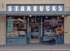 The very first Starbucks location in Pike Place Market, Seattle, Washington in 1971