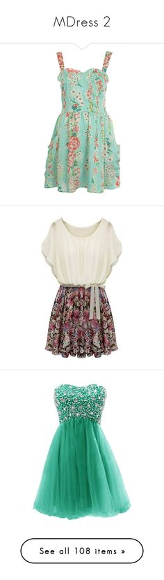 """MDress 2"" by loopyloser on Polyvore featuring dresses, vestidos, short dresses, floral, women, short green dress, mint mini dress, mint dress, mint green dress and floral dress"