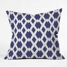 Lisa Argyropoulos Daffy Lattice Navy Throw Pillow (16 x 16 - Medium), Multi (Polyester, Graphic Print)