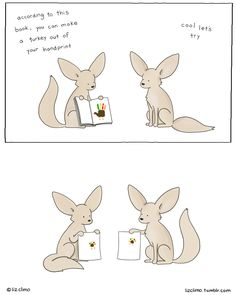 Nailed it.Happy Thanksgiving! ~ fennec foxes make handprint turkeys | Liz Climo comic via tumblr