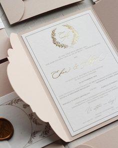 Gold foil wedding invitation with blush cover, belly band and custom wax seal / © PAPIRA invitatii de nunta personalizate si sigilii de ceara Custom Invitations, Wedding Invitations, Envelope Liners, Wax Seals, Gold Foil, Gold Wedding, Wedding Stationery, Card Stock, Blush