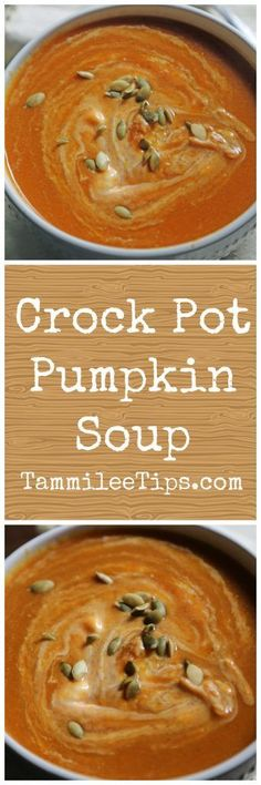 Super easy Crock Pot Pumpkin Soup Recipe! This slow cooker soup recipe is so easy to make and tastes delicious! Made with canned pumpkin, you can add in meat, Best savory soup for Fall!