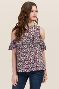Cortney Cold Shoulder Floral Ruffle Top-Red