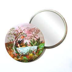 Round Pocket Makeup Mirror - Bath of Youth Free Black, Black Mirror, French Artists, Small Gifts, Decorative Plates, Youth, Velvet, Pocket, Makeup