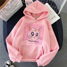 Harajuku, 90s Fashion, Korean Fashion, Sweat Shirt, Sailor Moon Cat, Sweater Hoodie, Pullover, Cartoon Outfits, Cheap Hoodies