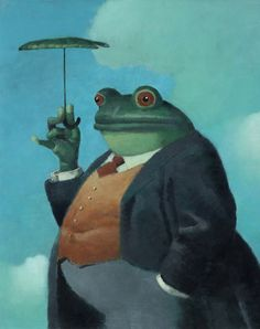The Banker Bullfrog is always willing to lend you his bumbershoot for a few bucks. - Brad Holland artist