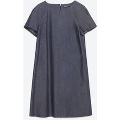 Zara Flowing Denim Dress (70 NZD) ❤ liked on Polyvore featuring dresses, dark blue, denim dress, deep blue dress, zara dresses and dark blue dress