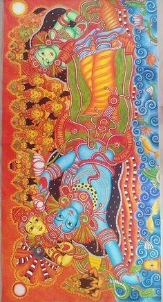 Maha vishnu Mural Kerala Mural Painting, Krishna Painting, Madhubani Painting, Hindu Statues, Japanese Drawings, Religious Paintings, Madhubani Art, Indian Folk Art, Hindu Art
