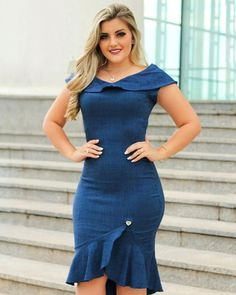 Plus size outfits Curvy Outfits, Classy Outfits, Plus Size Outfits, African Fashion Dresses, African Dress, Jeans Dress, I Dress, Denim Fashion, Fashion Outfits