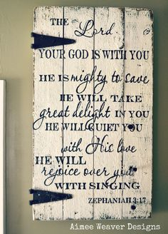 decorating with barn wood | Handpainted wood barn door with Zephaniah verse | Decorating
