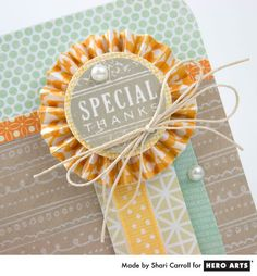 Complement your stamping with fresh colors of pattern papers. Card by Shari Carroll #HeroArts