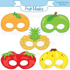 Fruits Printable Masks, strawberry mask, banana mask, orange, apple, pineapple, fruit costume mask, fruits, apple costume, printable mask