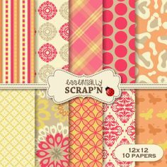 INSTANT DOWNLOAD  Digital Paper Pack  10 by essentiallySCRAPN, $1.50