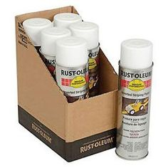 Rust-Oleum 2391838 2300 System Inverted Striping Paint Aerosol, White - Lot of 6 Paint Rollers, Portable Fan, Towel Warmer, Painted Cups, Paint Shop, New Market, Pantone Color, Rust, Painting