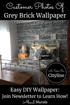 Watch this grey brick wallpaper on Cityline with Brian Gluckstein and then see it on real customer's walls! Brick Wallpaper Bedroom, Faux Brick Wallpaper, How To Hang Wallpaper, Diy Wallpaper, Hanging Wallpaper, Brick Wallpaper Black And White, Grey Brick, Old Bricks, Easy Diy