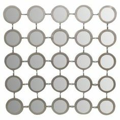"Wall decor with a linked mirrors design.  Product: Wall decor Construction Material: Metal and mirrored glassColor: SilverDimensions: 19"" H x 19"" W x 1"" D"